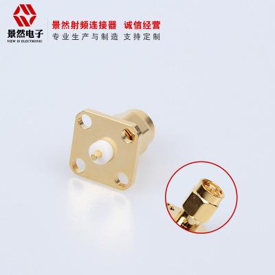 四孔法蘭方板sma公頭射頻連接器